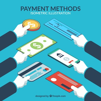 Hands with variety of payment methods