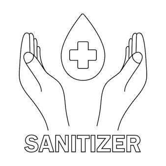 물방울이 있는 손과 의료용 십자가 소독제 기호 위생 청결의 개념