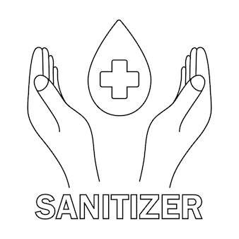 Hands with water drops and with medical cross sanitizer symbol concept of hygiene cleanliness