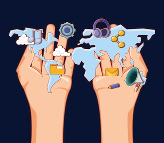 Hands with world map and social media related icons