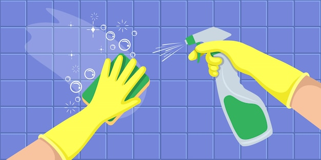 Hands in a yellow gloves holders disinfectant spray bottle and washes a wall. concept for cleaning companies. flat vector illustration.