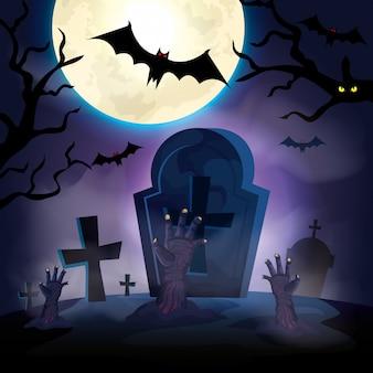 Hands of zombie in the dark night halloween scene illustration