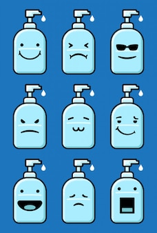 Handsanitizer emoticon set