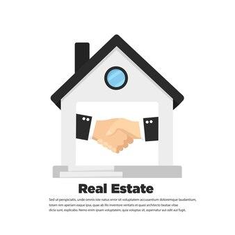 Рукопожатие и значок недвижимости