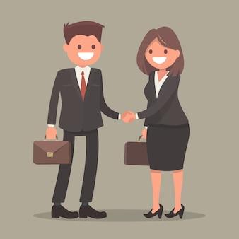 Рукопожатие деловой человек и деловая женщина.