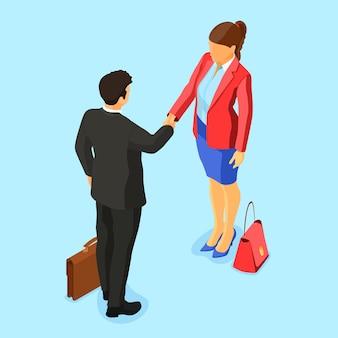 Рукопожатие деловой мужчина и женщина после переговоров успешной сделки. партнерство сотрудничество корпоративный бизнес. изображения героев b2b. изометрический