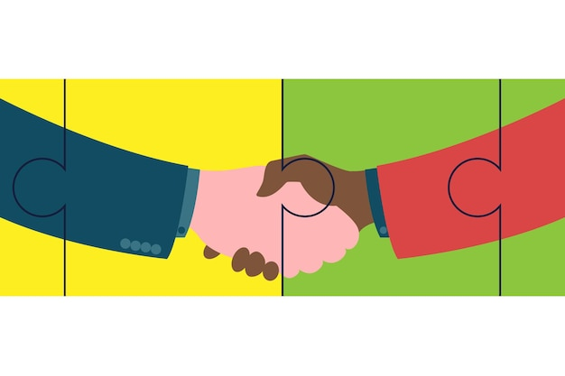 Handshake of business partners. strong and firm handshake clap in puzzle elements. vector flat style illustration symbol of success, agreement, good deal, partnership concepts.