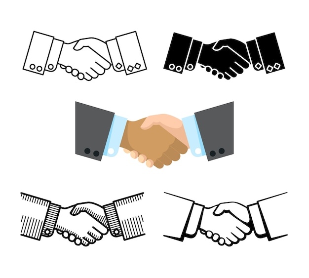 Handshake, business partnership, agreement vector icons