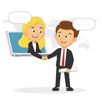 Рукопожатие бизнеса через экран