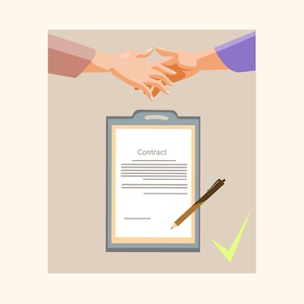 Документ для подписания контракта с бизнес-документом для рукопожатия
