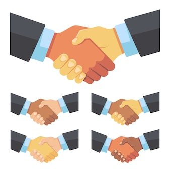 Handshake of businessmen of different races