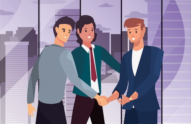 Handshake character flat design illustration
