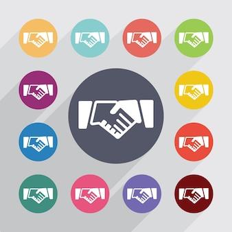 Круг рукопожатия, набор плоских иконок. круглые красочные кнопки. вектор