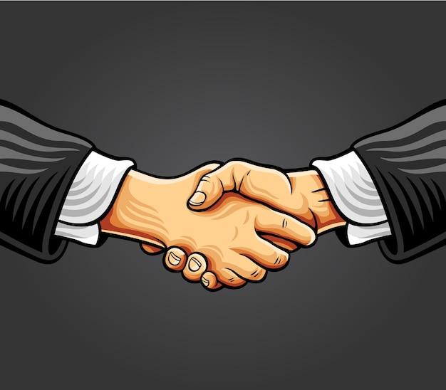 Handshake comic style illustration