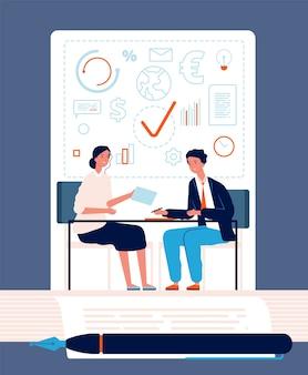握手概念。ビジネスパーソンパートナーシップファイナンス契約ベクトル投資関係ファイナンス。ビジネスマンの合意とパートナーシップ投資取引の図