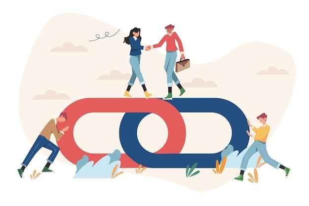 강력한 연합 및 협력으로서의 핸드 셰이크 개념 링크