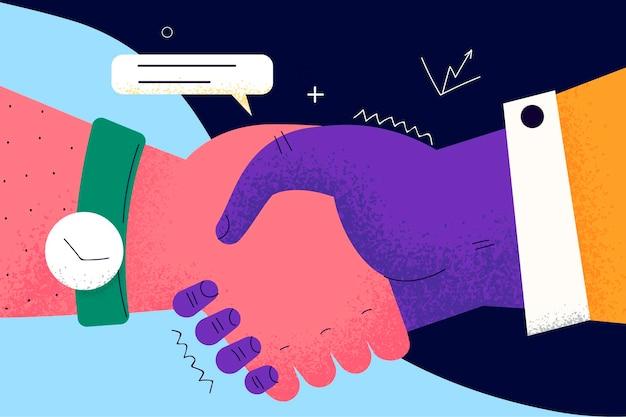 ハンドシェイク、取引、ビジネス契約の概念。