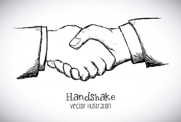 Handshake design   over white background vector illustration