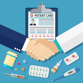 Handshake between doctor and patient, patient card, tablets and pills, syringe, thermometer
