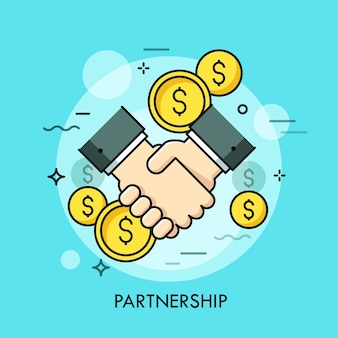 Handshake and dollar coins. business partnership, effective and beneficial cooperation, deal making, agreement concept.