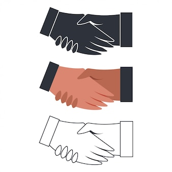 Handshake flat icons set isolated on white background.