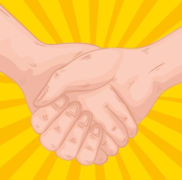 Handshake greeting expression in yellow background design