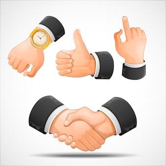 Handshake and hand gestures   illustration