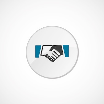 Handshake icon 2 colored, gray and blue, circle badge
