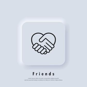 악수 아이콘, 심장 기호입니다. 하트 모양으로 손을 흔듭니다. 자원 봉사 아이콘입니다. 자선 또는 사랑 아이콘을 제공합니다. 벡터. ui 아이콘입니다. neumorphic ui ux 흰색 사용자 인터페이스 웹 버튼입니다.