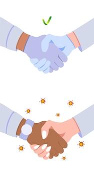 医療用手袋の有無にかかわらず握手。コロナウイルス防止