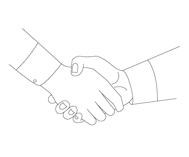 Handshake line sketch partnership concept vector illustration.