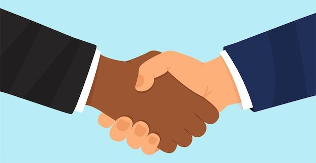 비즈니스 파트너의 악수 계약 악수 성공적인 거래 사람들