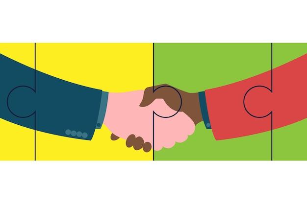 ビジネスパートナーの握手。パズルの要素で強くてしっかりした握手拍手。成功、合意、お得な、パートナーシップの概念のベクトルフラットスタイルイラストシンボル。
