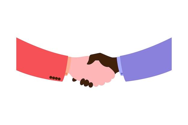 ビジネスパートナーの握手。強くてしっかりした握手拍手。成功、合意、お得な、白い背景で隔離のパートナーシップの概念のベクトルフラットスタイルイラストシンボル。