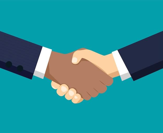 ビジネスパートナーの握手。ベクトルイラスト。