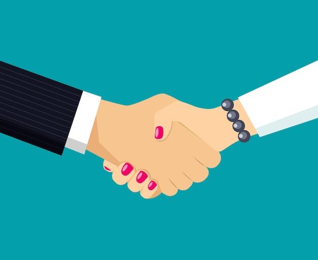 ビジネスパートナーの握手。女性と男性の手。ベクトルイラスト。