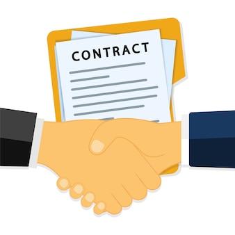 Рукопожатие деловых людей на фоне контракта