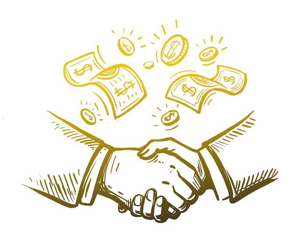 Рукопожатие двух бизнесменов эскиза