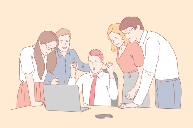악수, 파트너십, 거래. 젊은 사업가 또는 파트너가 서로 악수. 웃는 사업 사람들이 계약을 체결했습니다. 단순 플랫