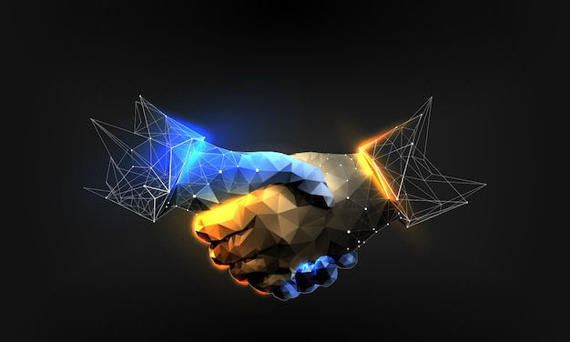Handshake in polygonal wireframe style
