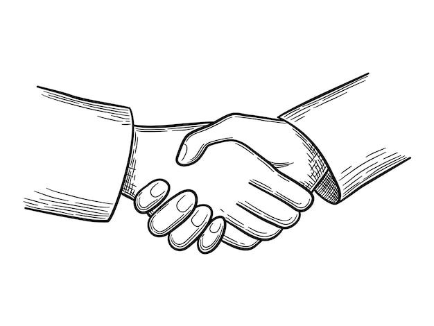 握手スケッチ。ビジネスコンセプトの人々はベクトル落書きを握手します。イラスト握手事業協力、手描きスケッチ画