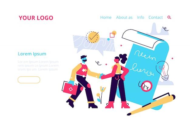 Рукопожатие, успешное партнерство. иллюстрация для веб-баннера, печать, инфографика, мобильный сайт. шаблон целевой страницы. заключение договора, сотрудничество, работа в команде.