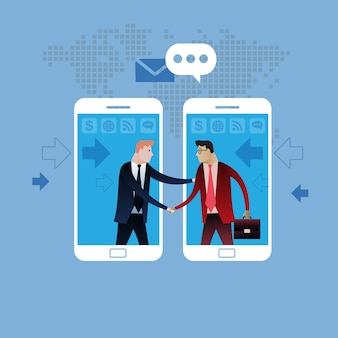 Handshake of two business people with smartphone background.
