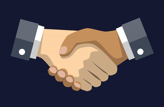 Handshake vector draw on blue dark background,