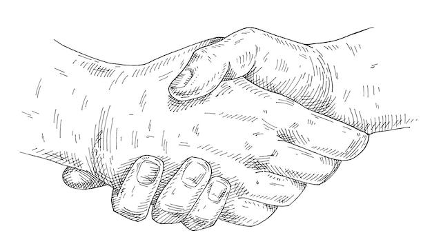Рукопожатие. винтажные монохромные штриховки иллюстрации на белом фоне. ручной обращается элемент дизайна