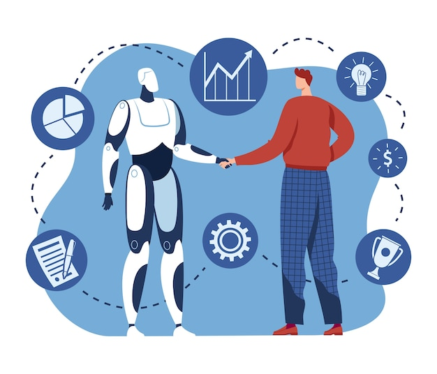 Handshake with robot, human and ai technology work together, illustration. human hold future cyborg machine hand, robotic computer work. innovation agreement with artificial intelligence.