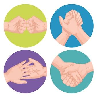 握手挨拶式セットアイコンデザイン
