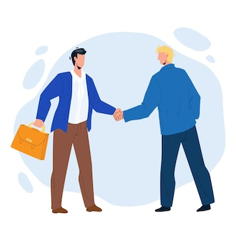 Handshaking businessmen after success deal vector. businesspeople handshaking together, successful signed agreement. characters business partnership and cooperation flat cartoon illustration
