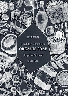 Handsketched soap card or invitation design on chalkboard