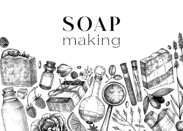 Handsketched soap design natural ingredients aromatic for cosmetics perfumery soap